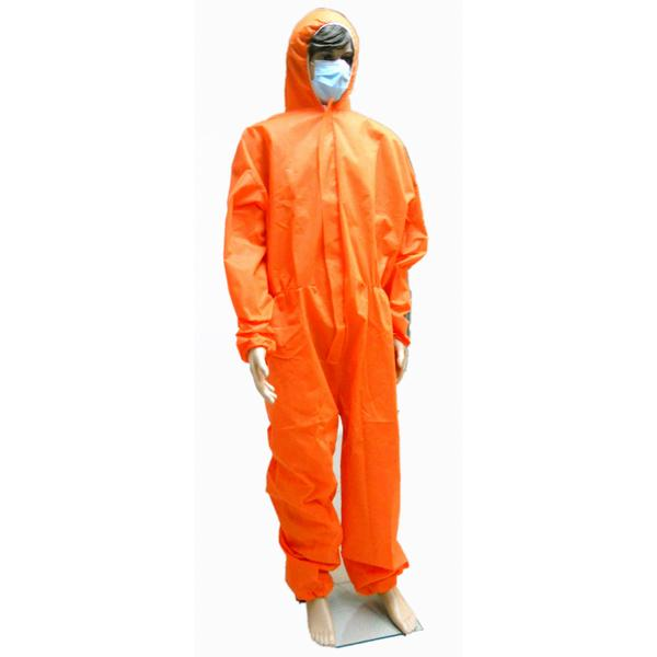 Sterile Orange Disposable Waterproof Overalls Protective For Cleanroom