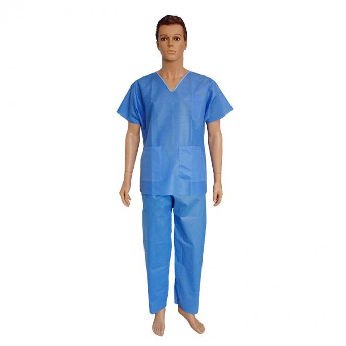 Light Weight Blue Medical Scrub Suit Blood Retardant For Sanitation Field