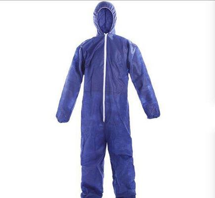 China Blue PP Disposable Protective Coveralls , Type 5 / 6 Disposable Work Suits supplier