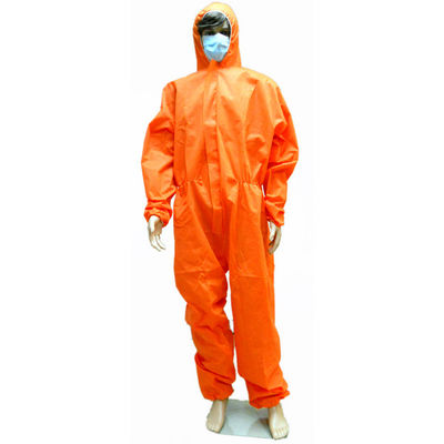 China Sterile Orange Disposable Waterproof Overalls Protective For Cleanroom supplier