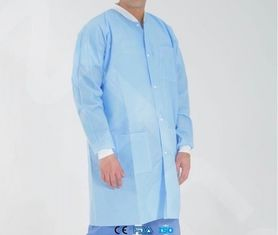 China Protective White Disposable Polypropylene Lab Coat Anti - Shrink With Knitted Cuff supplier