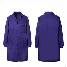 China Durable TC Fabric Medical Lab Coats , Custom Logo Protective Dark Blue Lab Coat supplier