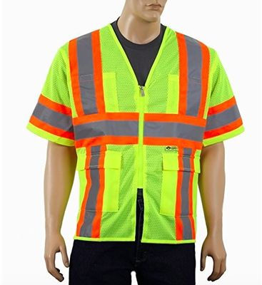 China Breathable Reflective Safety Vest , Class 3 Outdoor Protective Reflective Work Vest supplier