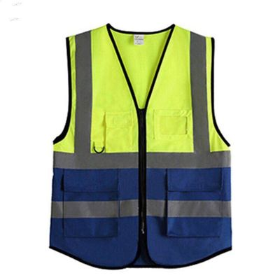 China HV1009 Reflective Safety Vest , Yellow Safety Vest With Pockets And Zipper supplier