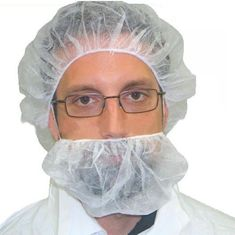 China Food Industry Beard Covers Disposable , Large Beard Nets With Elastic Earloop supplier
