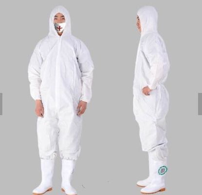 China Non Woven Disposable Protective Coveralls , White Disposable All In One Suits supplier