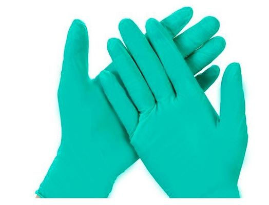 Waterproof Disposable Nitrile Gloves , Textured Green Nitrile Gloves Disposable