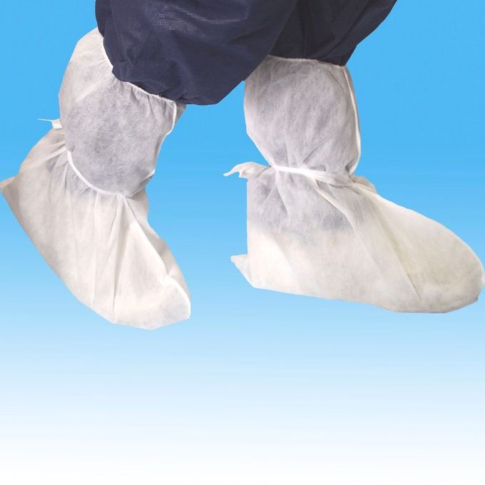 White PP Disposable Shoe Covers , Non - Irritant Disposable Plastic Boot Covers