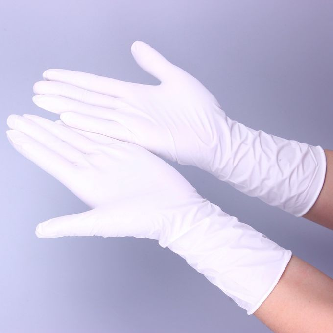 Industrial White Disposable Nitrile Gloves , Powder Free Large Nitrile Gloves